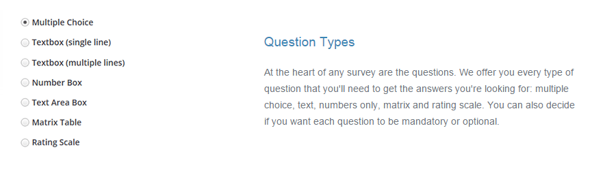 Survey Question Types