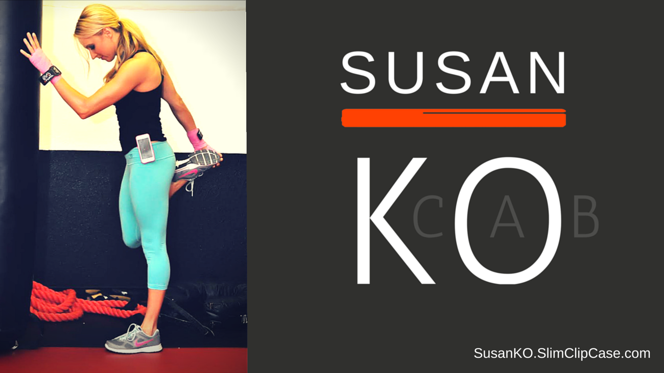 Susan Kocab stretching with SlimClip Case