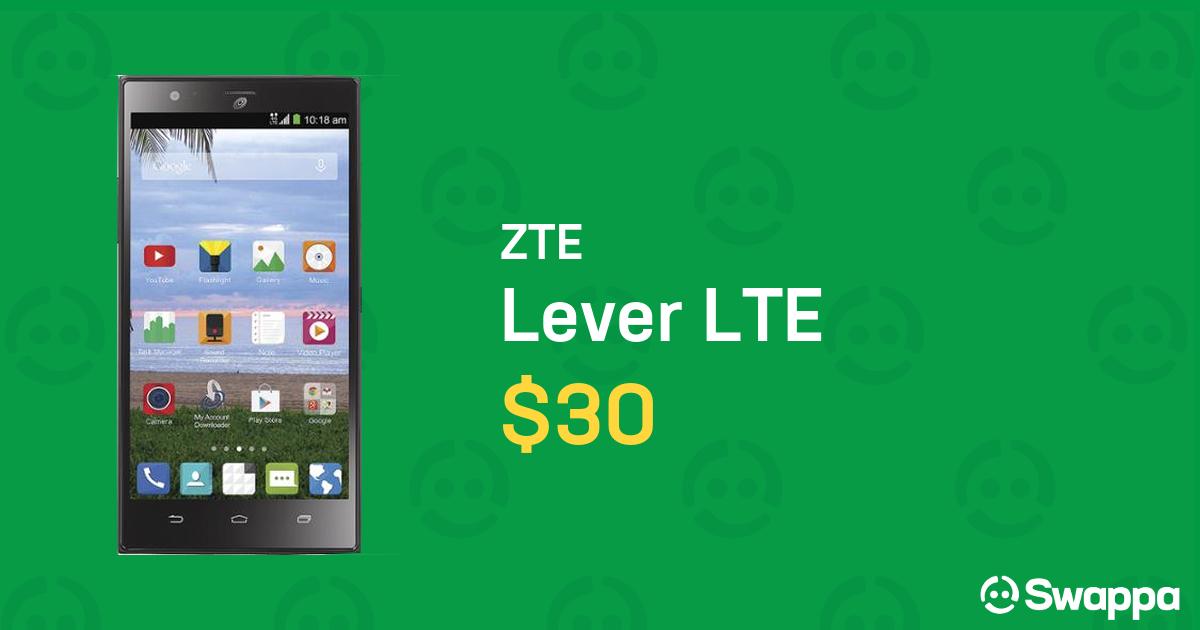 ZTE Lever LTE (Straight Talk) [Z936C] - Black, 16 GB For Sale - $30 on  Swappa (LRWL95153)