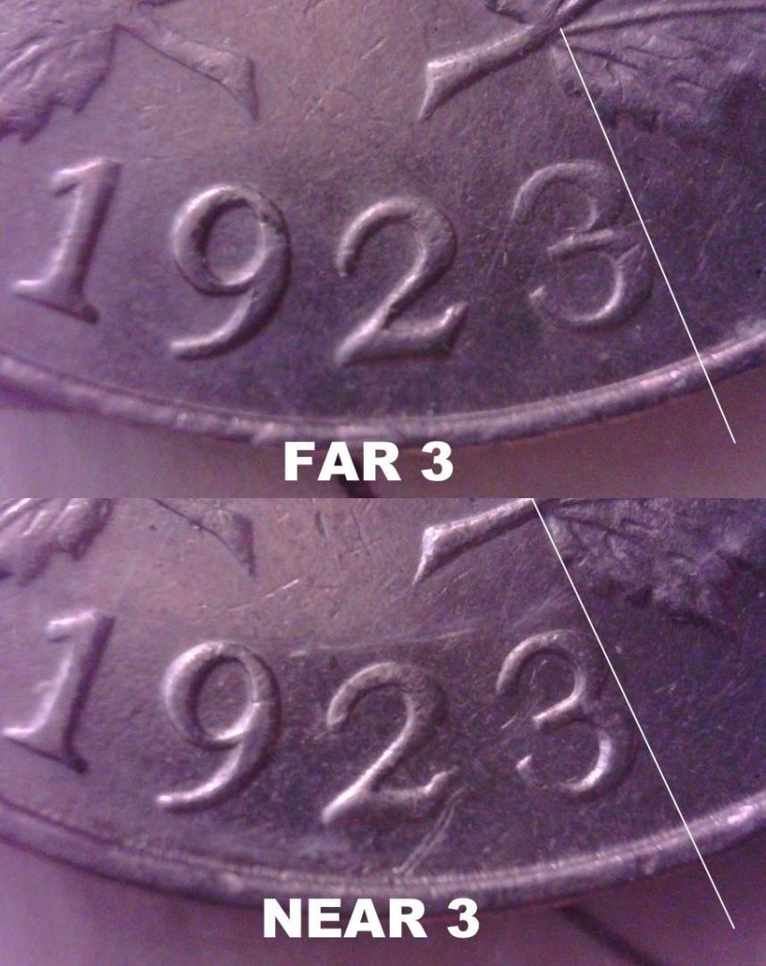 1923 ( NEAR 3 ) ICCS EF-45 & 1923 ( FAR 3 ) ICCS AU-55 Nickel Canada (  VARIETY )