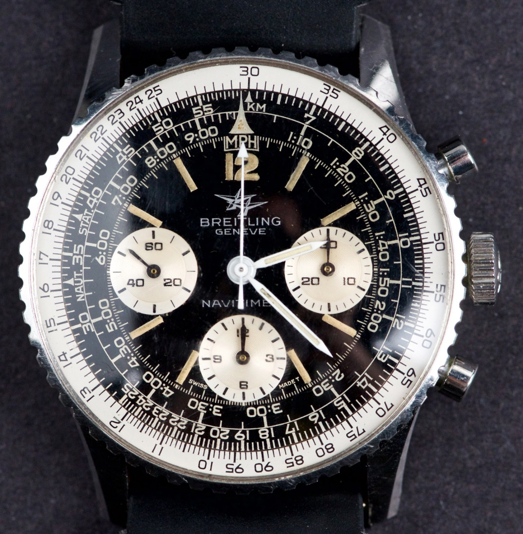 Vintage 1965 Swiss Made Breitling Navitimer 806 Chronograph Twin Jet With Reverse Panda Dial