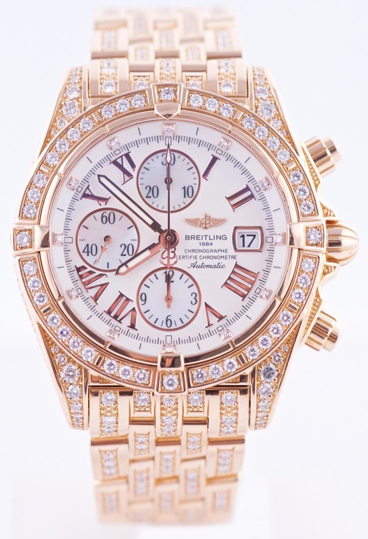 8c978508b19 2007 Breitling Chronomat Evolution All Diamond   18K Pink Gold ...