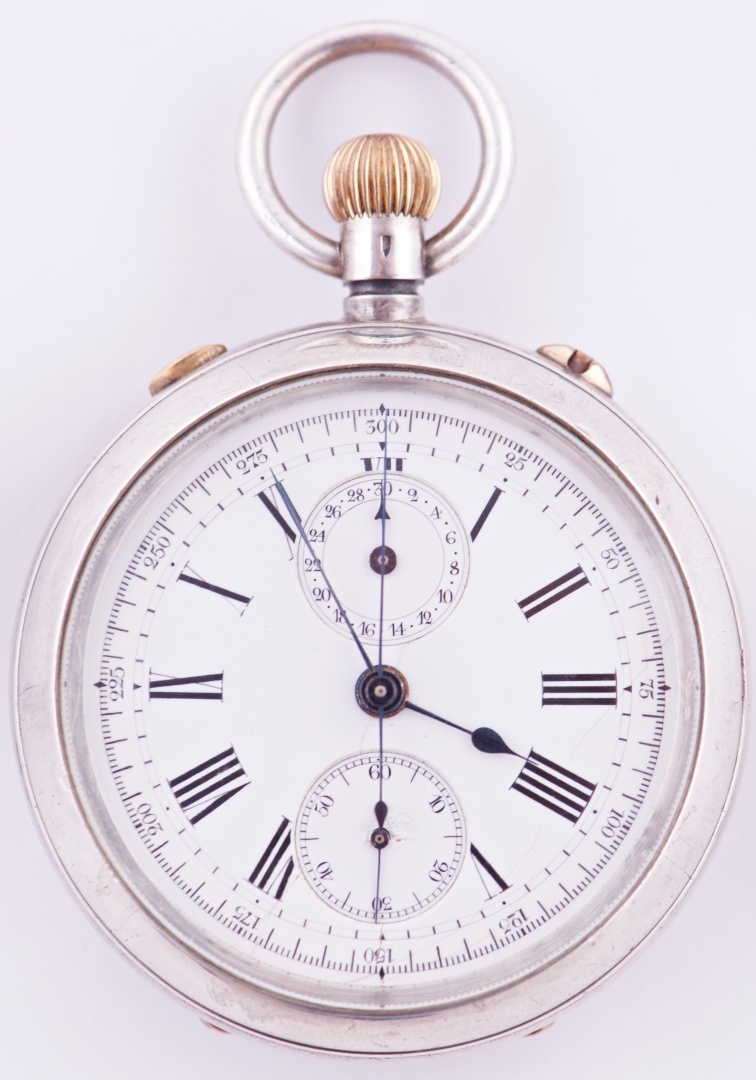 44f577b3d Lot 079: Antique Unsigned Sterling Silver Split Second Chronometer Pocket  Watch