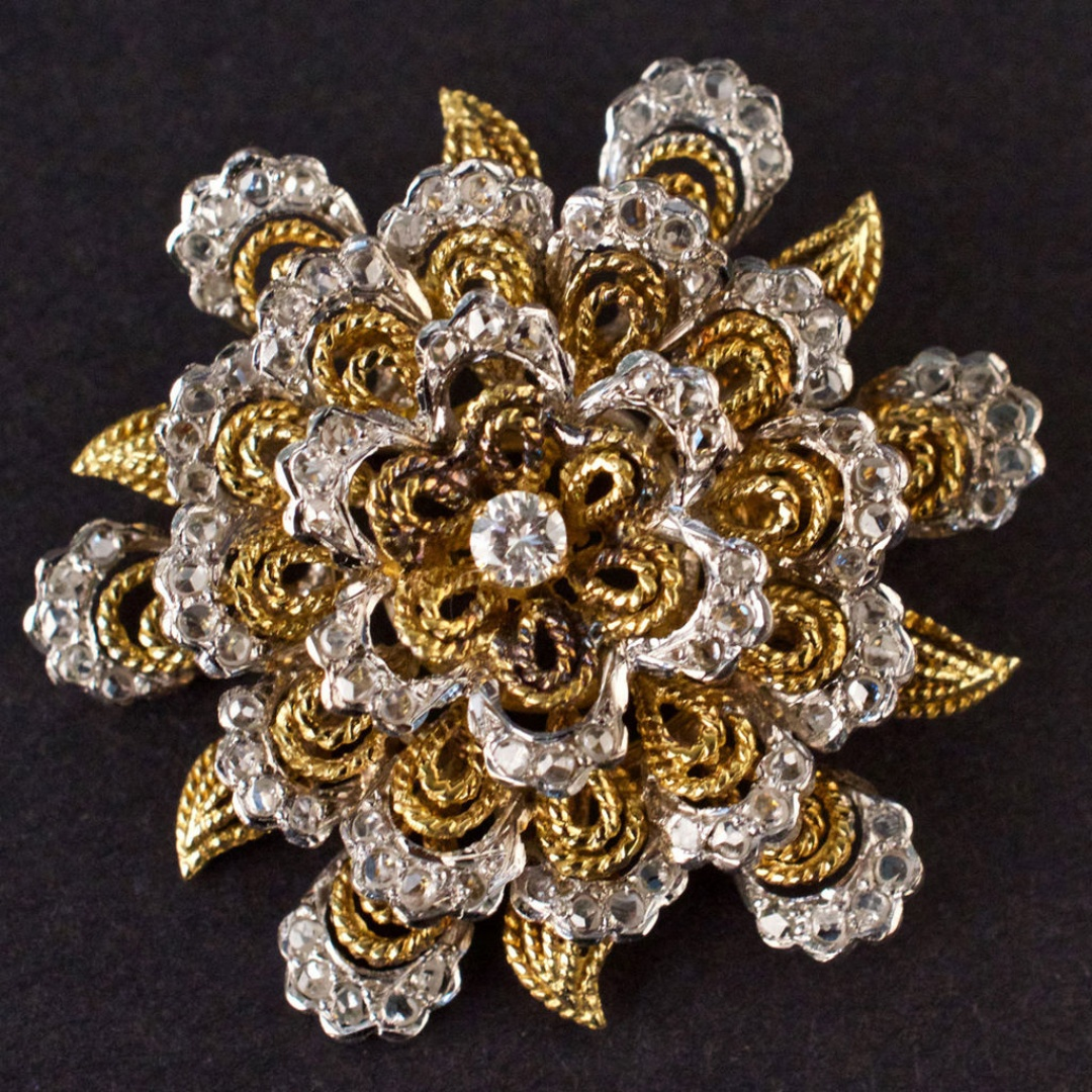 9fe8b31d057 BJ220 Ladies Vintage Brooch in Yellow & White 18K GOLD with DIAMONDS 23.1g.  Share: Posted on: March 13 2018. ENDED