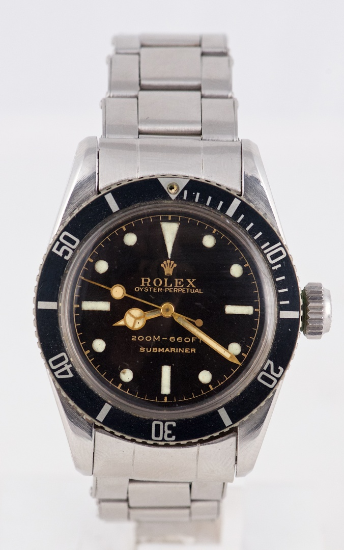 Vintage Bond Big Crown Rolex Submariner Ref 6538 With 2 Line Gilt Dial Hands Circa 1956