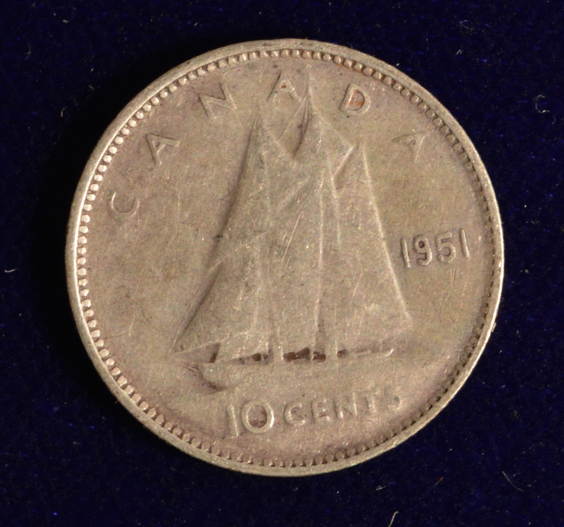 Canada 1945 10 CENT Nice Coin Book filler ~ average circulated