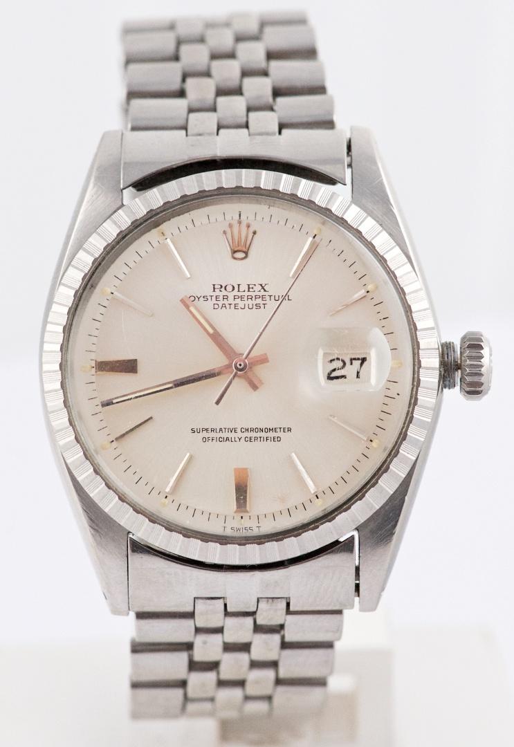 Vintage Rolex Datejust Silver Pie Pan Dial Ref 1603 Watch Circa 1967