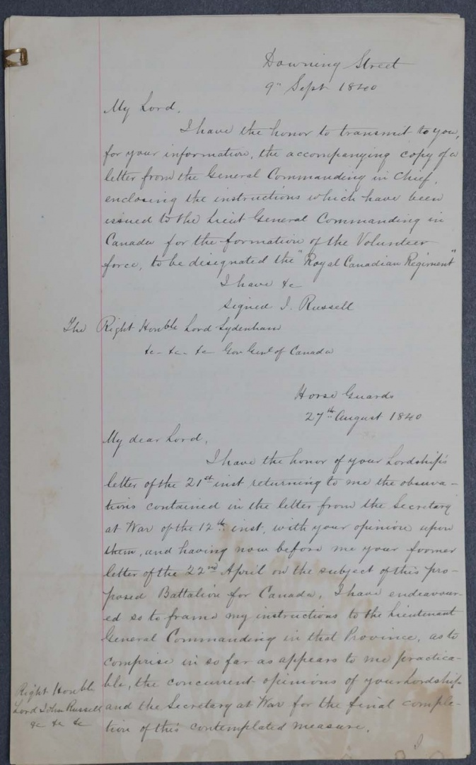Colonial Document 1840 Canada Addressed to Downing Street ...