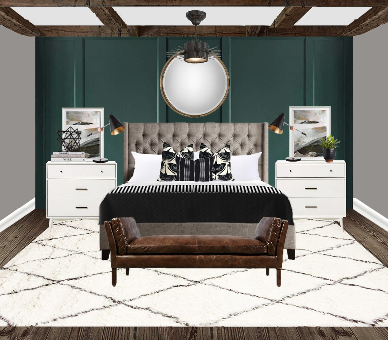 Bold & masculine interior design bed