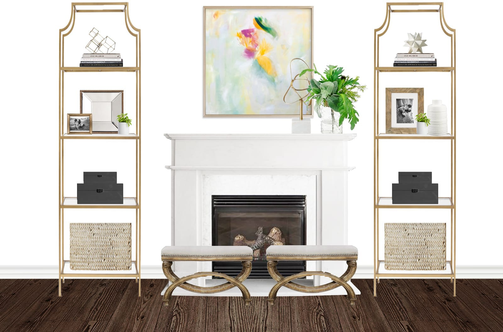 Fireplace with a Pop of Color