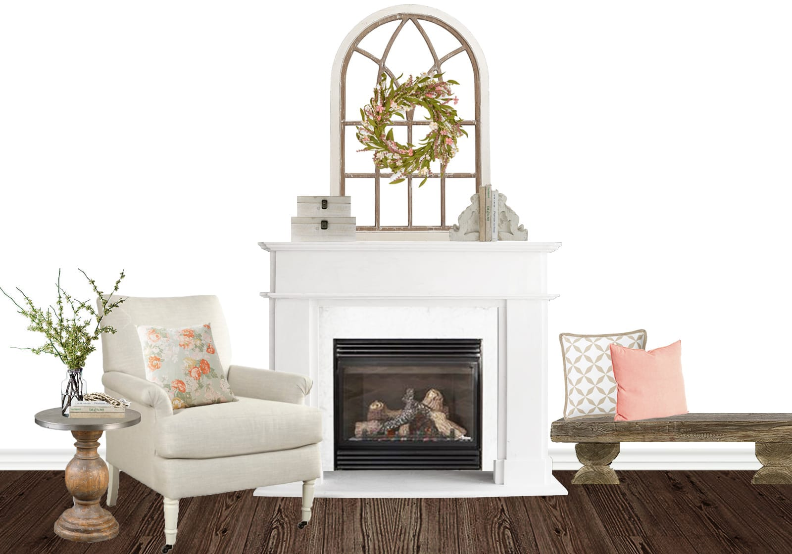 Farmhouse Floral Fireplace