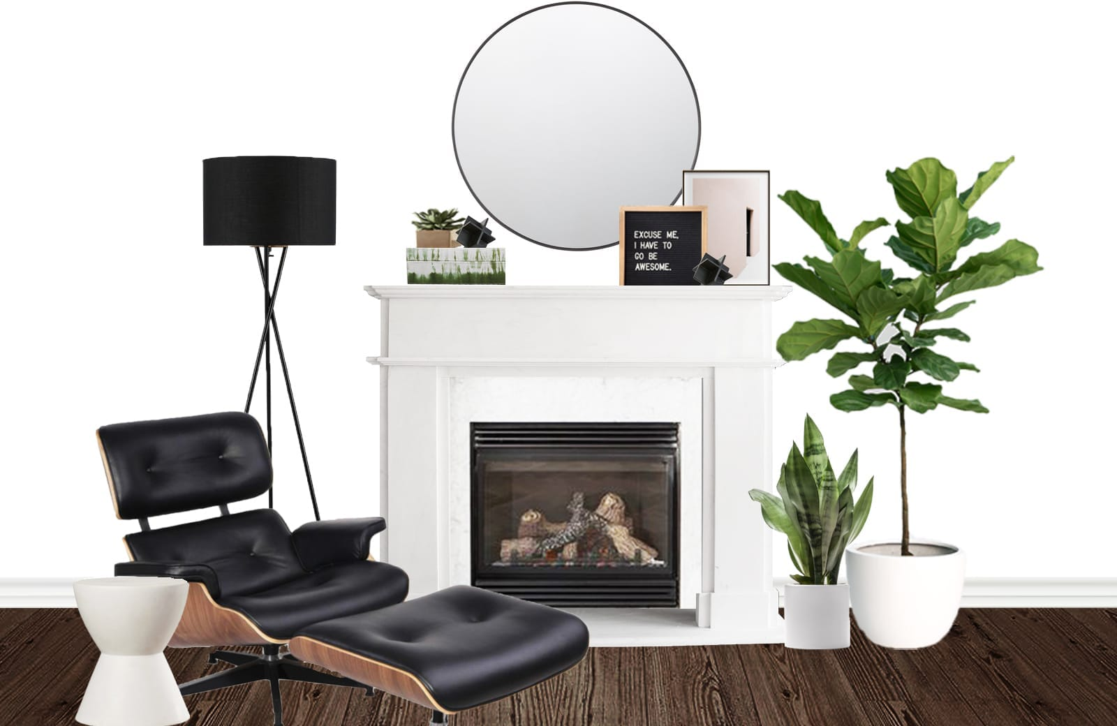 Modern Greenery Fireplace