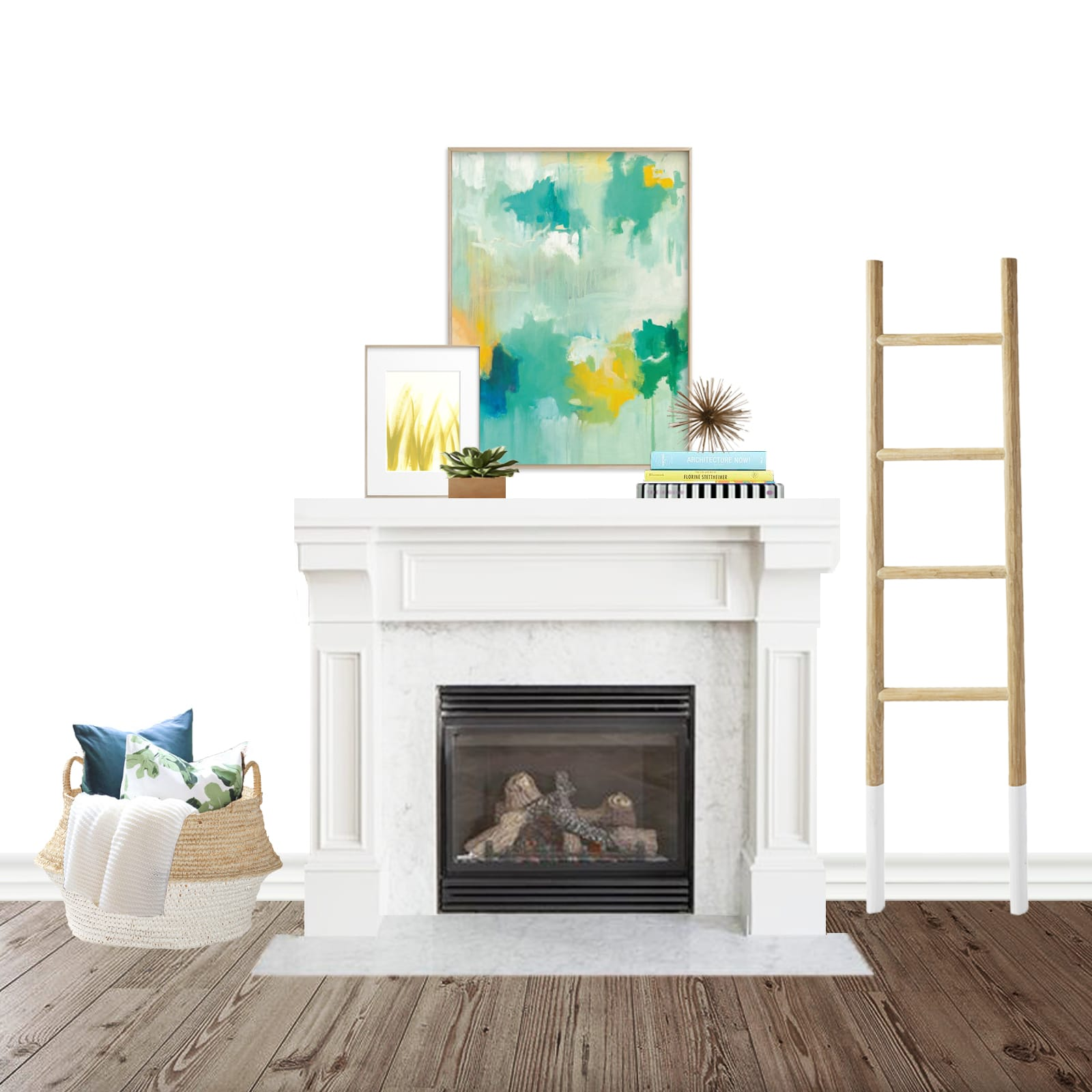 Fireplace Interior Design - Colorful & Casual