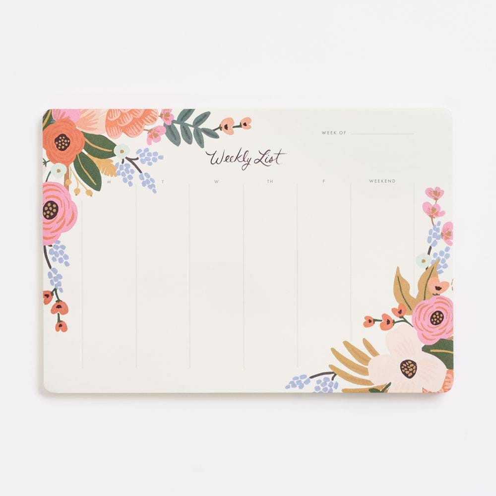 Floral Lively Floral Weekly Desk Notepad