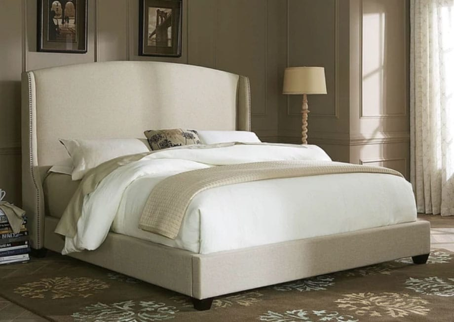 Natural Linen Wing Shelter Upholstered Bedset