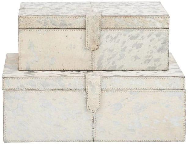 Wood Leather 2 Piece Box Set