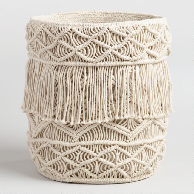 Cream Macrame Fabric Tote Basket