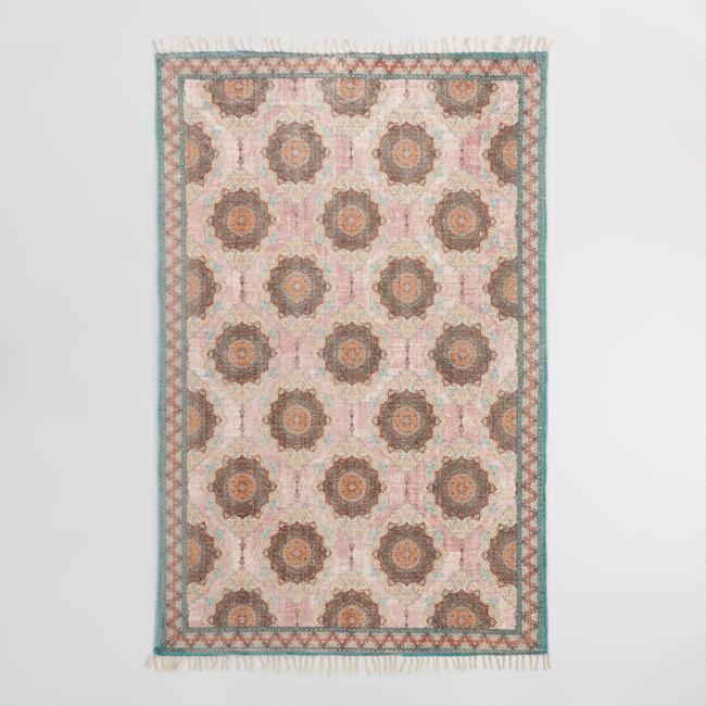 Blush And Teal Floral Medallion Print Karima Area Rug