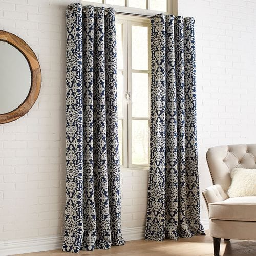 Chenille Damask Navy Grommet Curtain