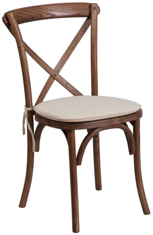 Hercules Series Stackable Wood Cross Back Chair With Cushion, Pecan