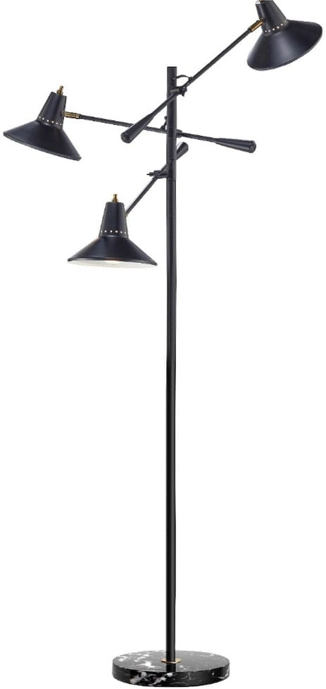 Adesso Nelson 3 Arm Floor Lamp - Black