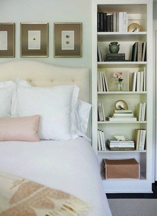Vertical bookcase bedside table