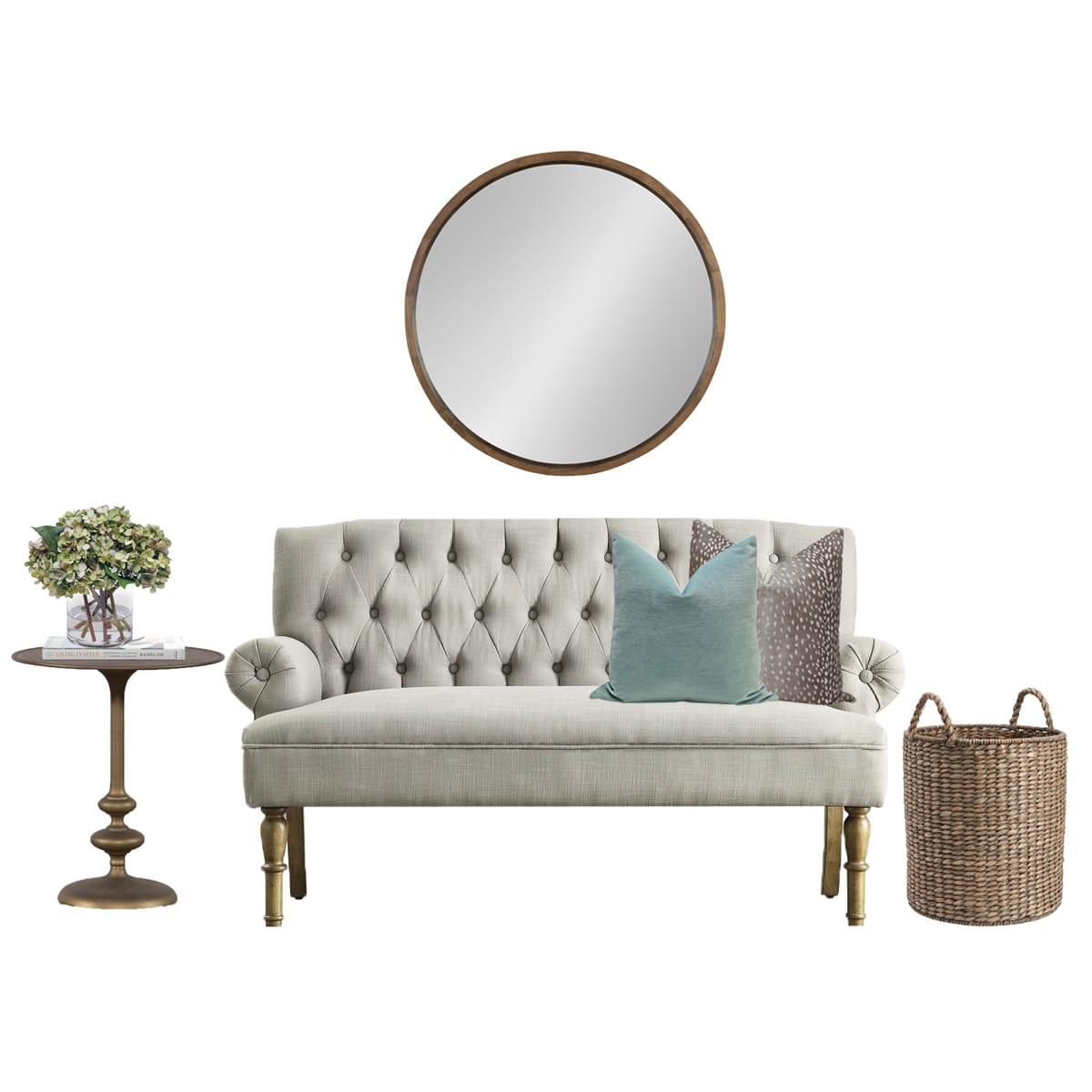 Settee + Wall Mirror