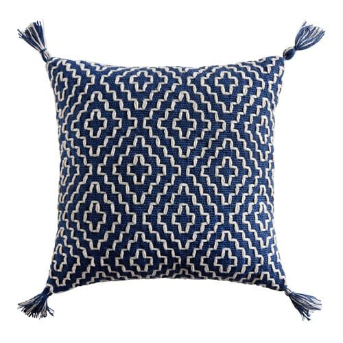 Geometric Pom 18in Square Indigo Pillow