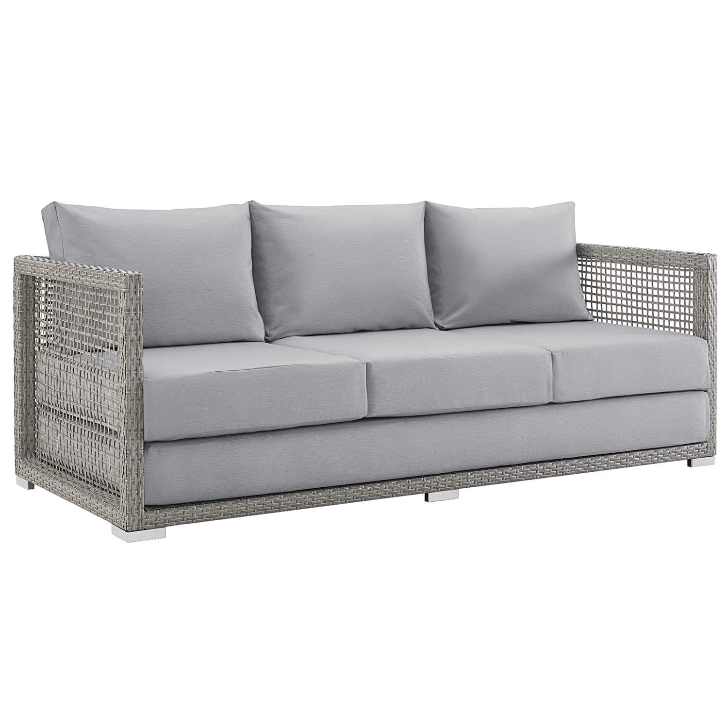 Modway Aura Outdoor Patio Wicker Rattan Sofa Gray