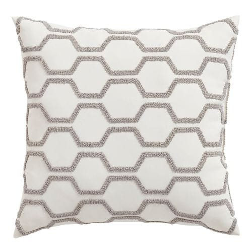 Embellished Hexagons Dark Gray Pillow
