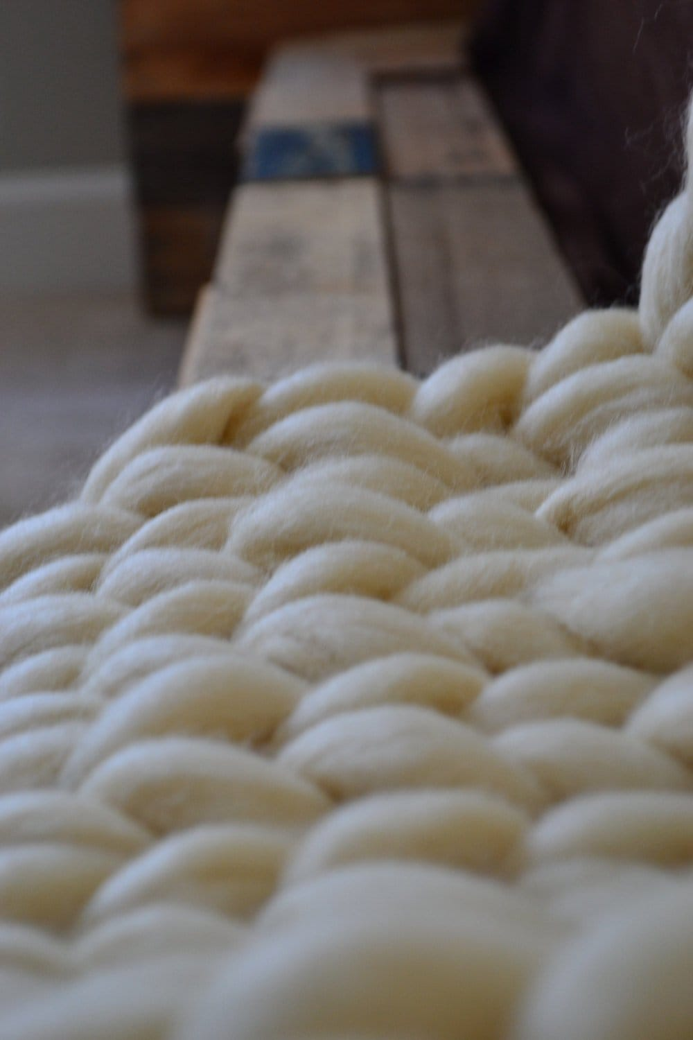 Chunky knit table runner