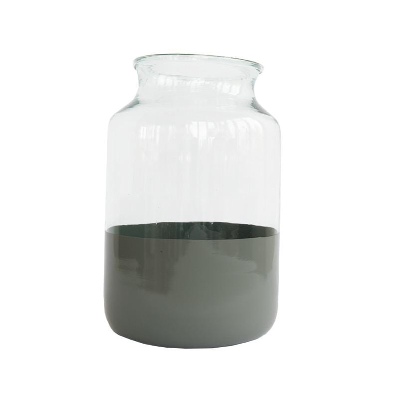 Glass vase with gray base