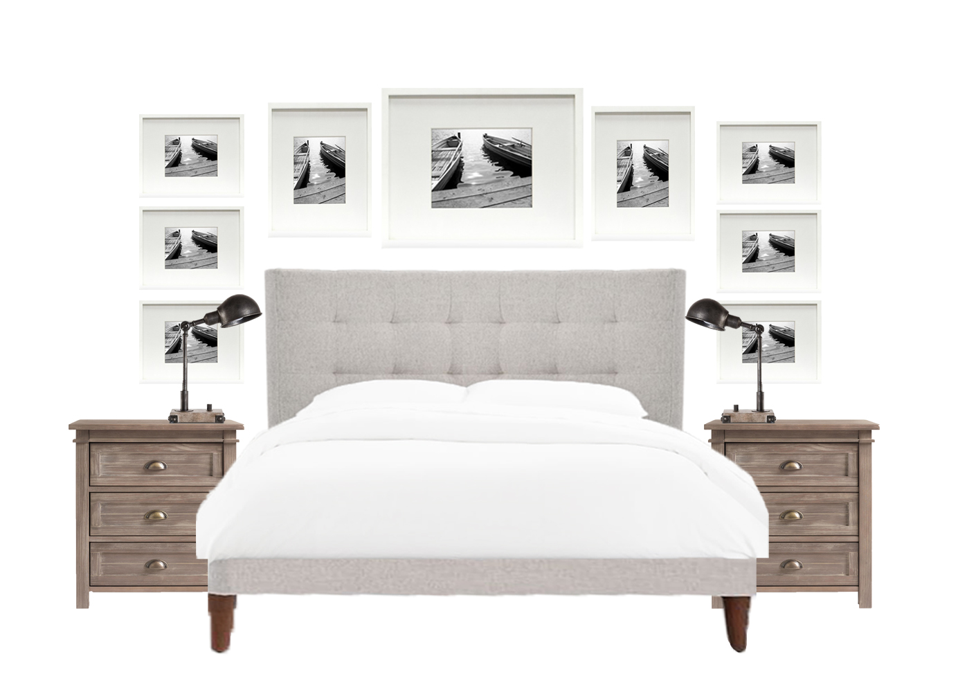 How to Decorate Above A Bed - Gallery Wall