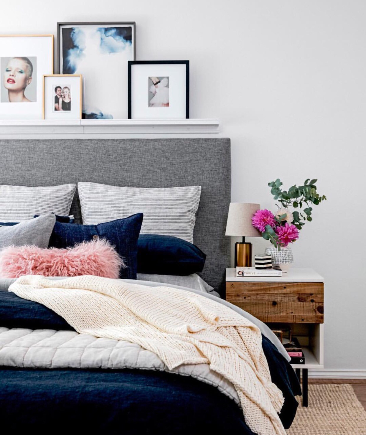 How to Decorate Above A Bed - Use a Shelf