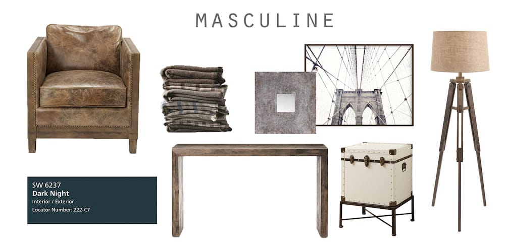 Masculine room interior design