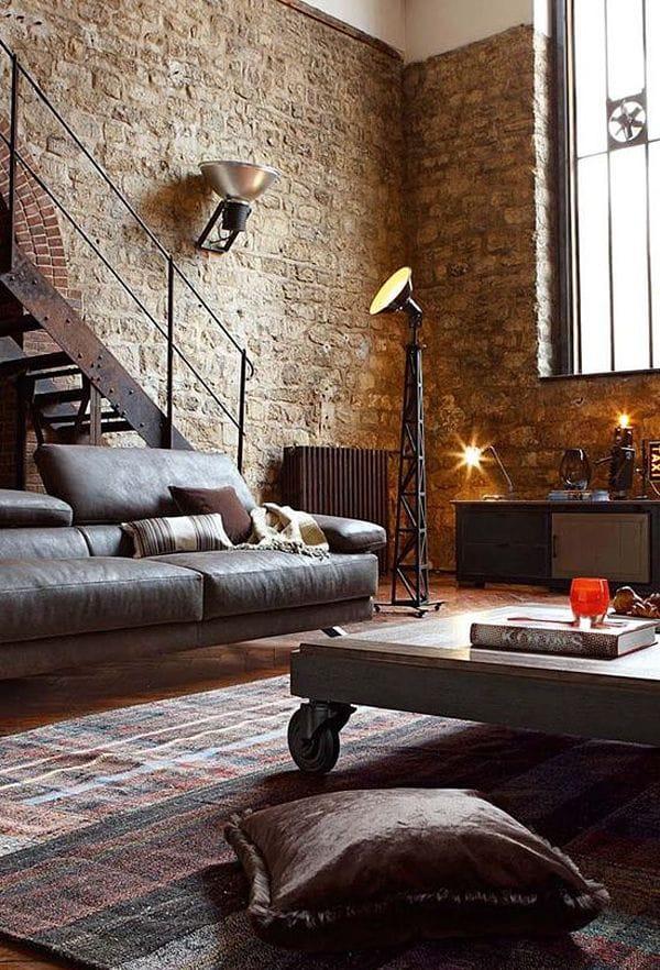 Masculine interior designed room