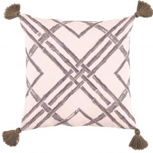 Bamboo Taupe with Taupe Tassels Outdoor Pillow