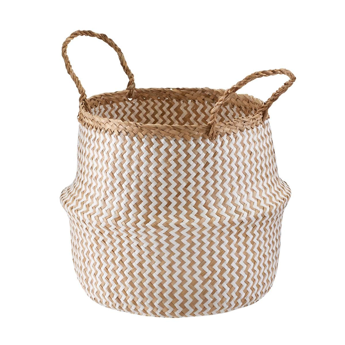Medium Seagrass BellyBasket Chevron Natural/White