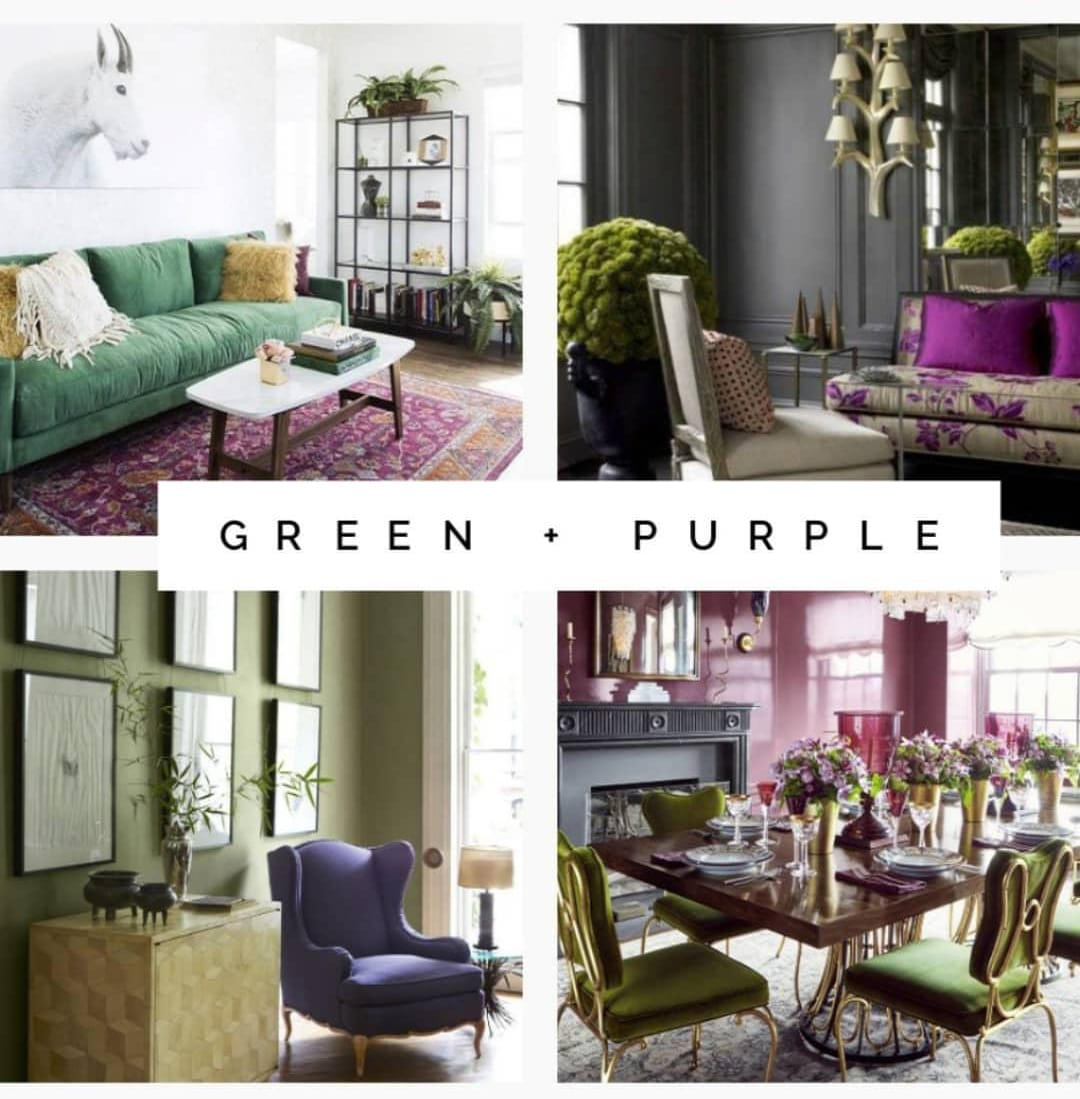 Green and purple interior design examples