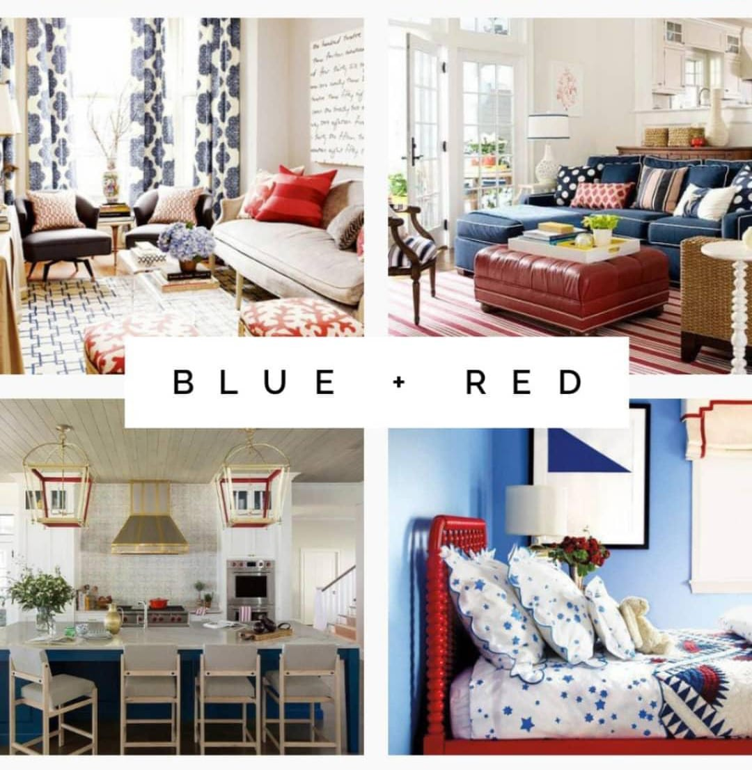 Blue and red interior design examples