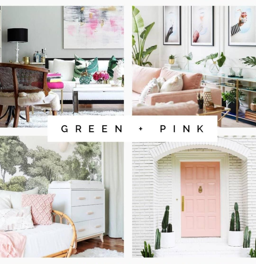 Green and pink interior design examples