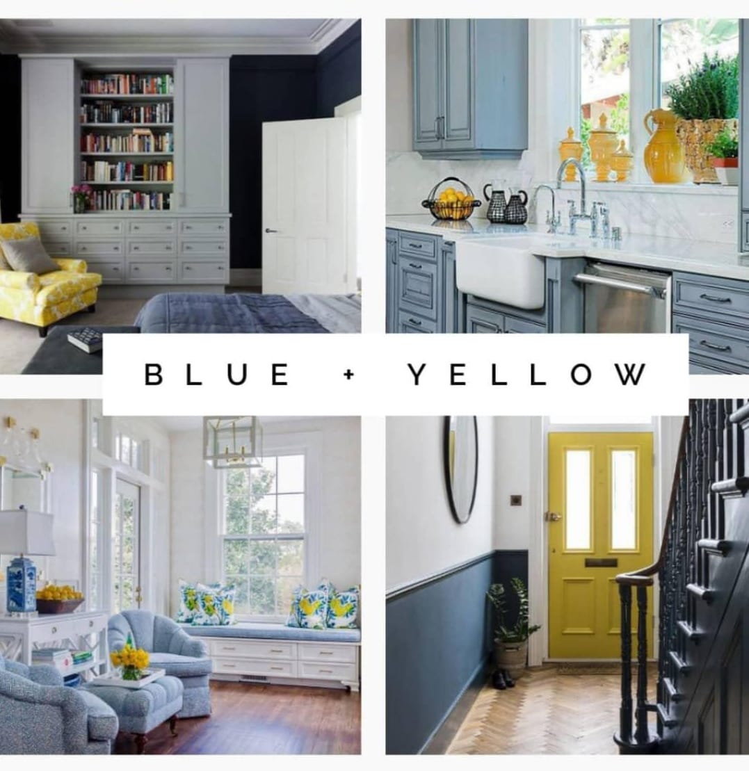 Blue and yellow interior design examples