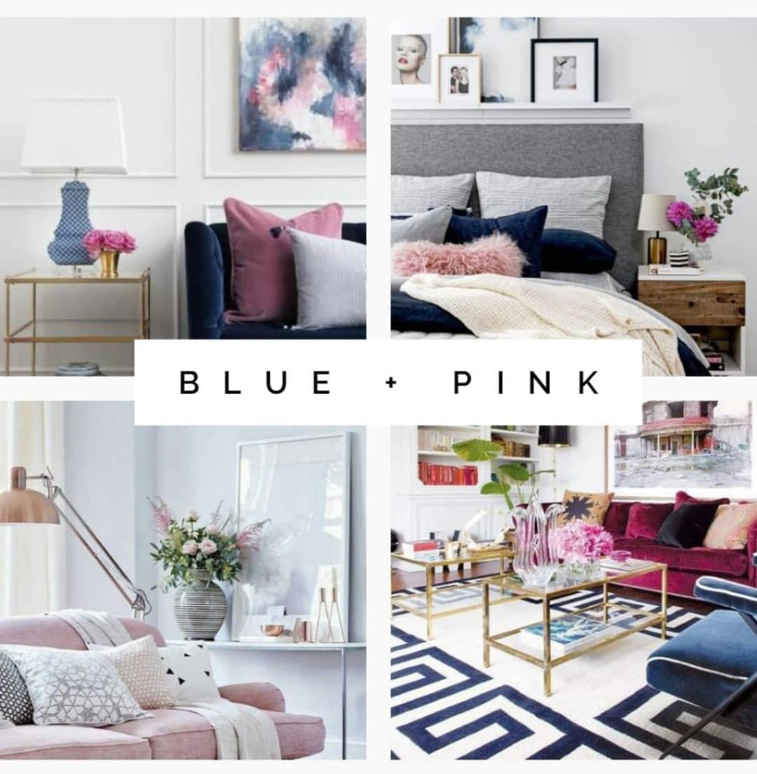 Blue and pink interior design examples