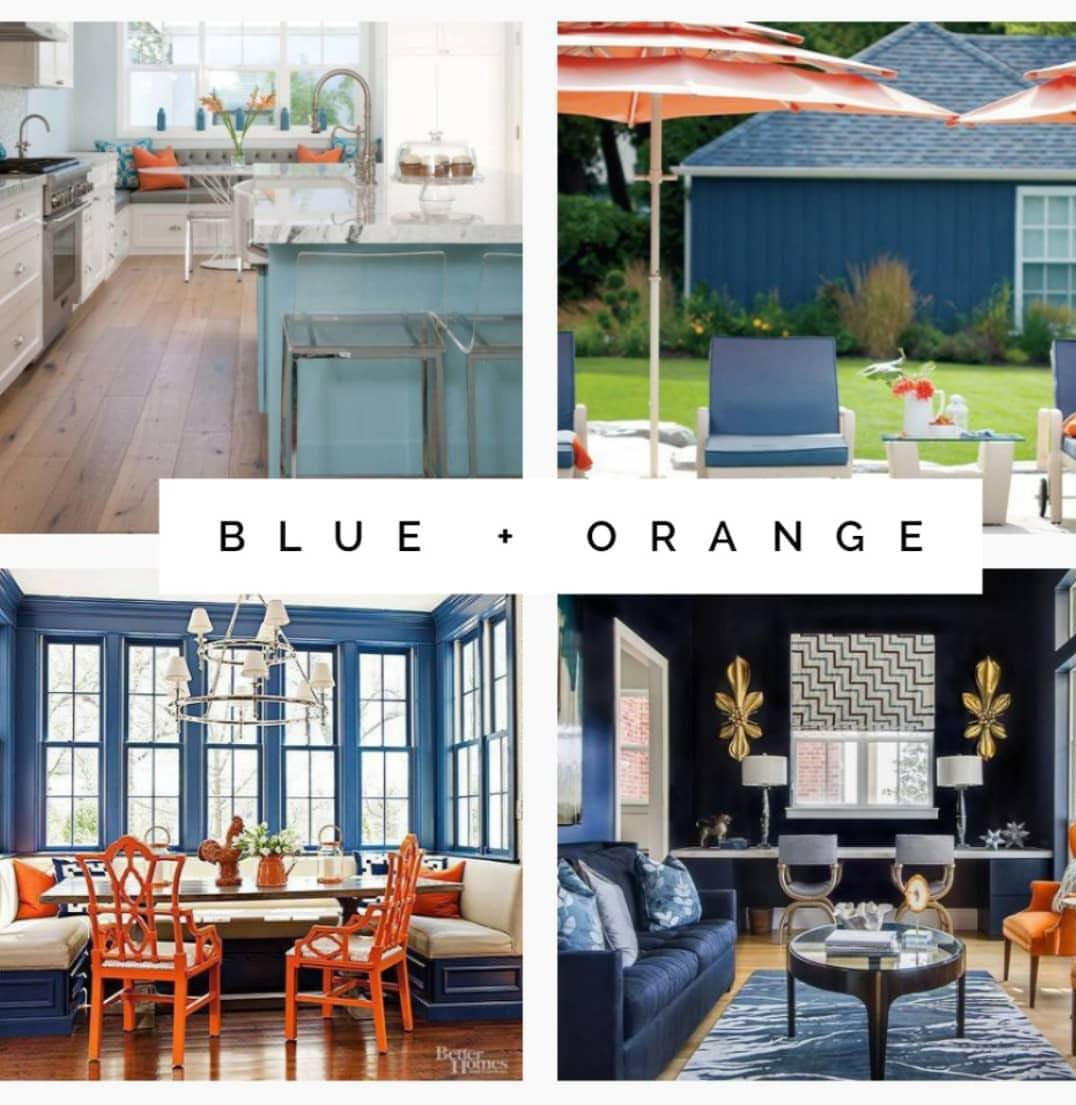 Blue and Orange interior design examples