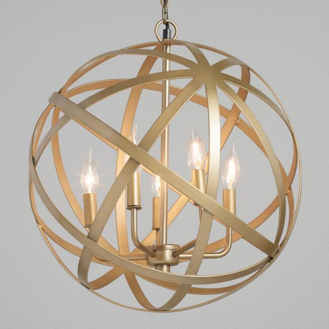 Antique Brass Orb 5 Light Chandelier