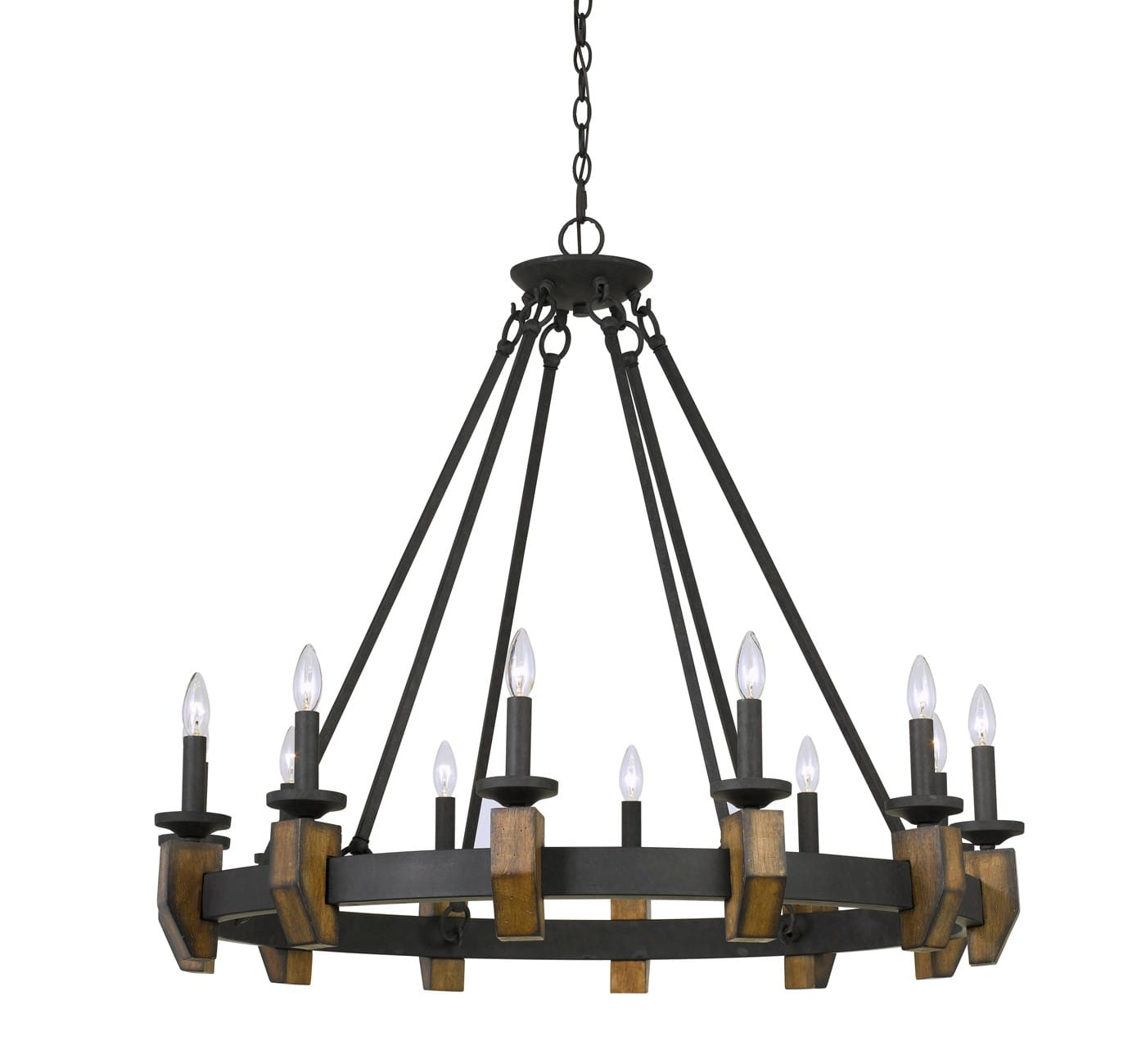 Cruz Metal/Wood Chandelier Bronze 4