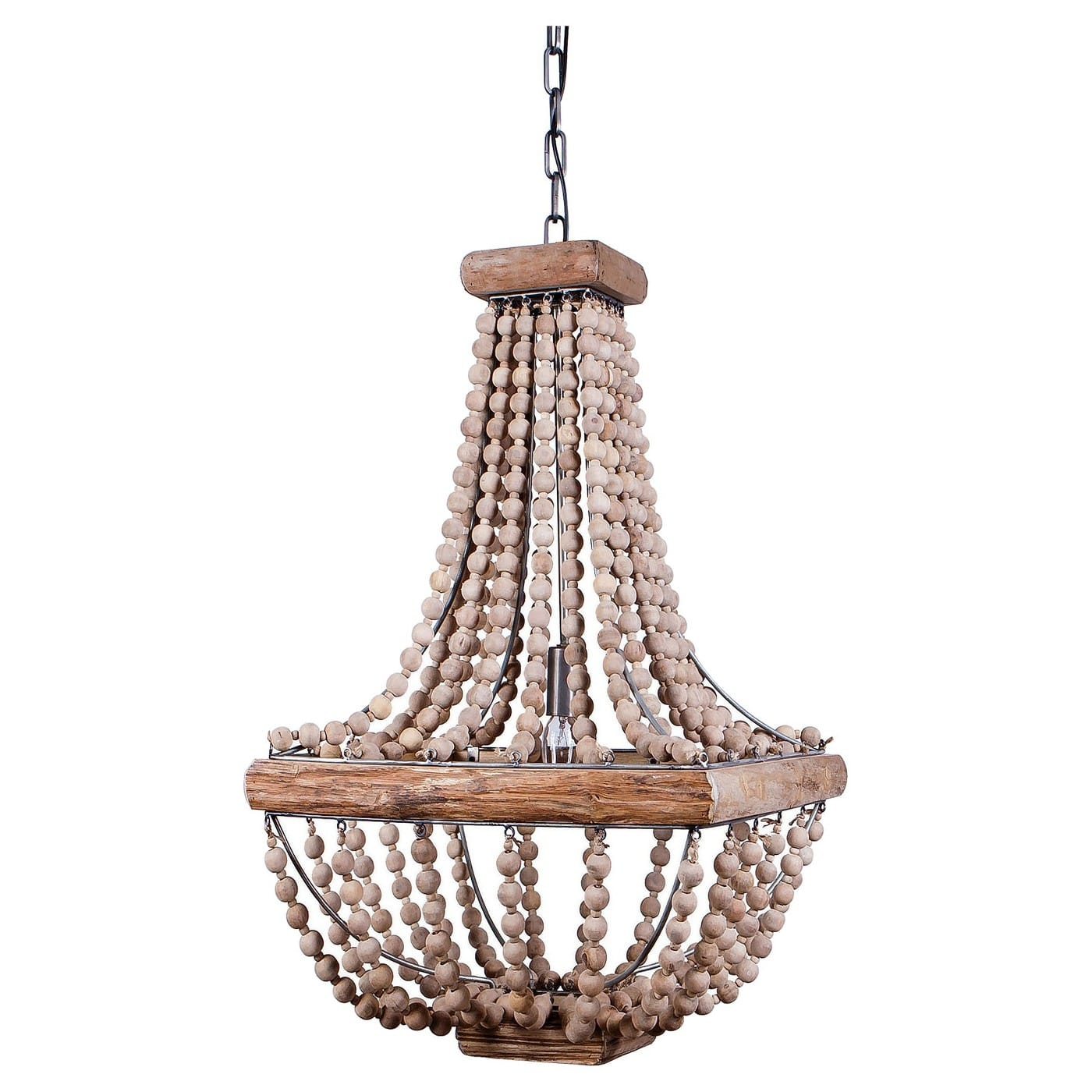 Metal Chandelier with Wood Beads