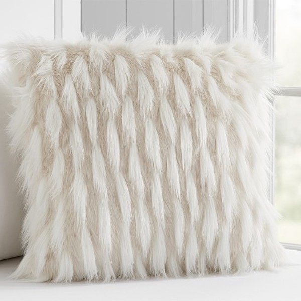 High low faux fur decorative pillow c