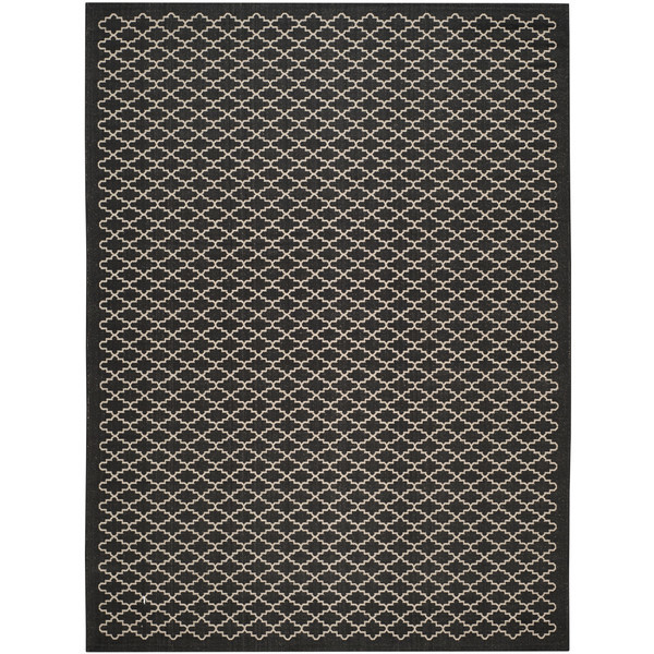 Lambton black and beige indoor outdoor rug