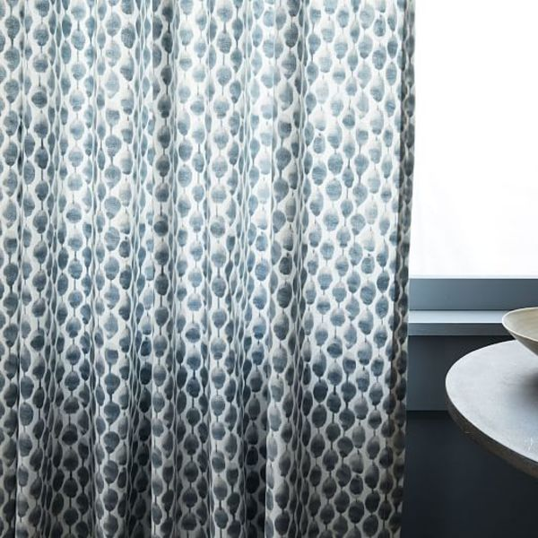 Cotton canvas stamped dots curtains set of 2 shimmer c